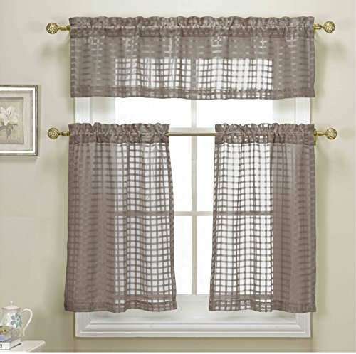 Panels In Faux Silk 3 Piece Kitchen Curtain Sets (View 30 of 44)
