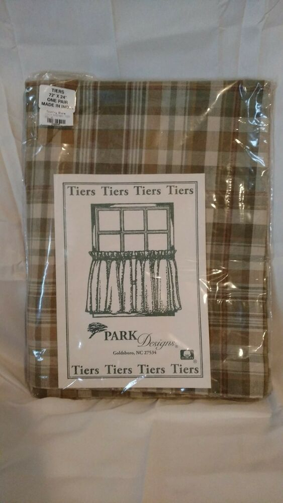 "Park Designs Rosemary 24"" Tiers Plaid Curtains New 72x24 Tan Sage Green Country 