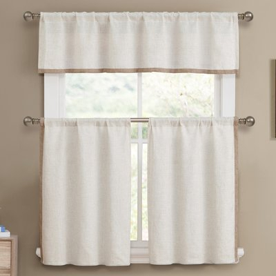 Pin On Curtains Pertaining To Solid Microfiber 3 Piece Kitchen Curtain Valance And Tiers Sets (#37 of 50)