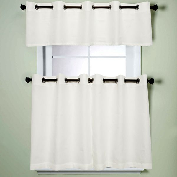 Popular Photo of Modern Subtle Texture Solid White Kitchen Curtain Parts With Grommets Tier And Valance Options