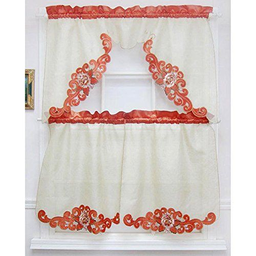Pinbethzaida Cuadrado On Diy & Crafts | Tier Curtains Pertaining To Scroll Leaf 3 Piece Curtain Tier And Valance Sets (View 40 of 50)