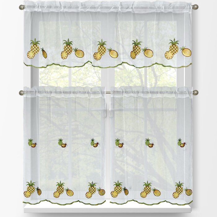 Pineapple 3 Piece Embroidered Kitchen Tier And Valance Set Intended For Kitchen Curtain Tiers (View 29 of 50)