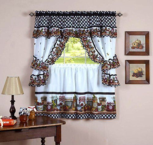 Pinesther Frasher On Decorator Ideas | Kitchen Curtain Within Chateau Wines Cottage Kitchen Curtain Tier And Valance Sets (View 21 of 30)