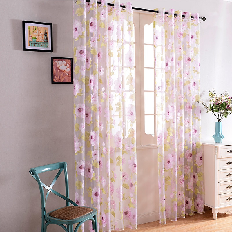 Pink Floral Sheer Curtains For Living Room Bedroom Elegant Modern Living  Room Curtains Window Tulle Voile Curtain Home Textile Within Elegant Crushed Voile Ruffle Window Curtain Pieces (View 35 of 45)