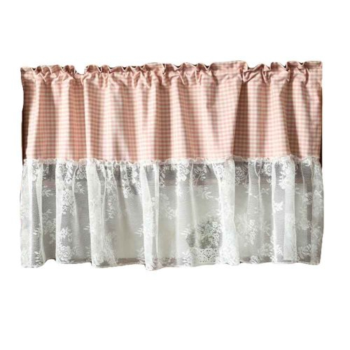 Pink/lace – Short Kitchen Curtain Half Window Curtain Cafe Curtain Tier  Curtain Within Coffee Drinks Embroidered Window Valances And Tiers (View 31 of 45)