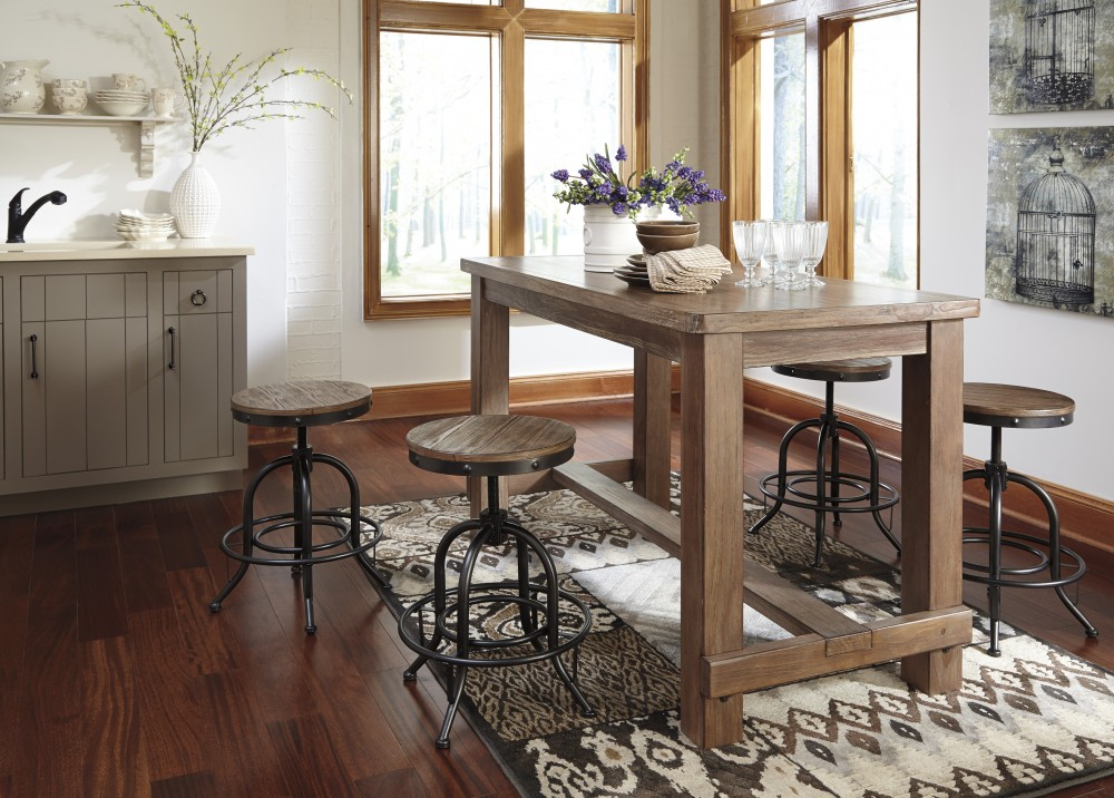 Pinnadel Rect Dining Room Counter Table & 4 Swivel Stools In Well Known Lucy Bar Height Dining Tables (#13 of 20)