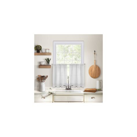 "Pintuck Kitchen Window Tier Set Of 2 – 30"" X 36"" – White With Regard To Pintuck Kitchen Window Tiers (#29 of 43)"