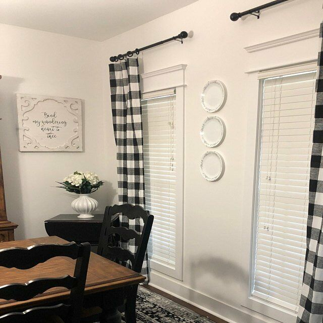 Plaid Buffalo Check Curtains Black And White Curtain Panels Country Decor Regarding Barnyard Buffalo Check Rooster Window Valances (View 26 of 30)