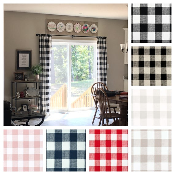 Plaid Curtains Buffalo Check Window Treatments Navy Black Red Tan Gray  Curtain Panels Drapery Panels Window Shade Drapes In Classic Navy Cotton Blend Buffalo Check Kitchen Curtain Sets (View 30 of 30)