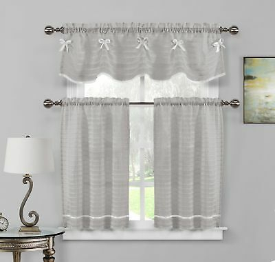Pleated Crochet Kitchen Window Curtain Tier Pair Or Valance In Pleated Curtain Tiers (View 4 of 50)