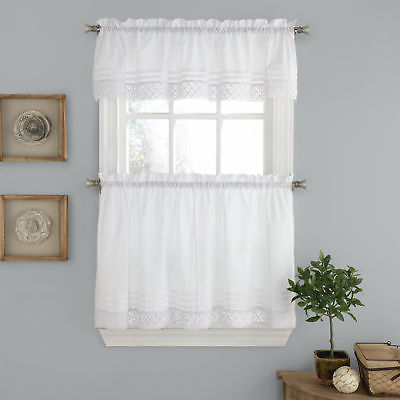 Pleated Crochet Kitchen Window Curtain Tier Pair Or Valance White | Ebay Within Tailored Valance And Tier Curtains (#30 of 50)