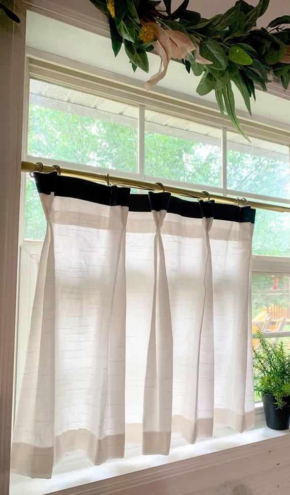 Pleated Solid Cotton Linen (Look) Texture Cafe Curtains , Tier Curtains, Kitchen Curtains, Bathroom Curtains , Window Treatments, Farmhouse Regarding Pleated Curtain Tiers (View 23 of 50)