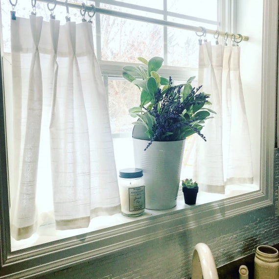 Pleated Solid Cotton Linen (Look) Texture Cafe Curtains , Tier Curtains, Kitchen Curtains, Bathroom Curtains , Window Treatments, Farmhouse Regarding Pleated Curtain Tiers (View 5 of 50)