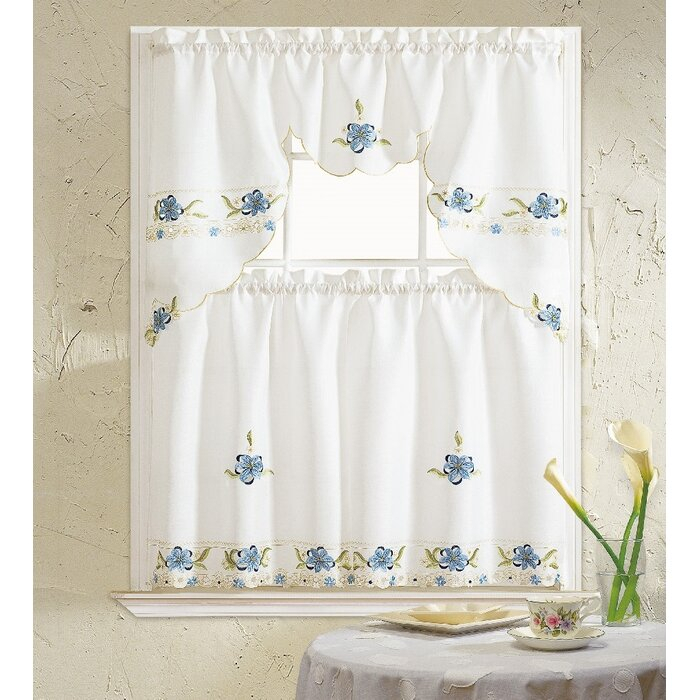 Polsky 3 Piece Kitchen Curtain Set Intended For Scroll Leaf 3 Piece Curtain Tier And Valance Sets (View 35 of 50)