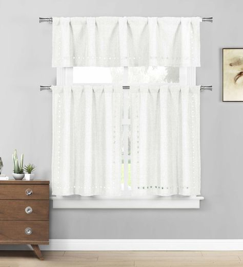 Polycotton Floral Vine Kitchen Curtain Drape Tier & Valance In White Tone On Tone Raised Microcheck Semisheer Window Curtain Pieces (#30 of 46)