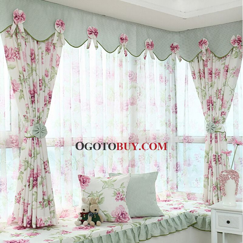 Polyester Purple Floral Pattern Privacy Bay Window Curtain In Floral Pattern Window Valances (View 31 of 50)
