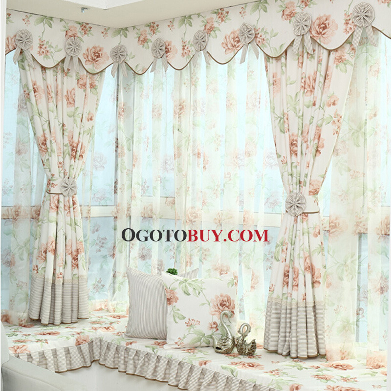 Polyester Room Darkening Curtain With Printed Floral Pattern For Floral Pattern Window Valances (View 32 of 50)
