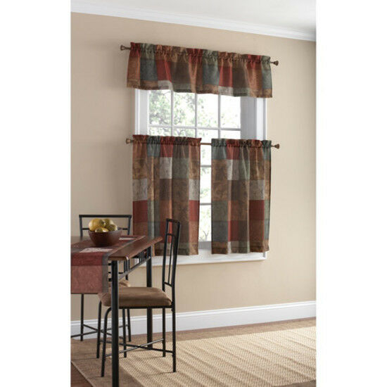 Polyester Small Home Kitchen Patchwork Design Decor Curtain Panel Valance  Set Intended For Barnyard Window Curtain Tier Pair And Valance Sets (View 39 of 50)
