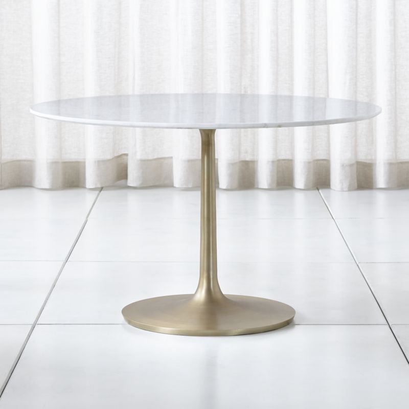 "Popular Christie Round Marble Dining Tables In Nero 48"" White Marble Dining Table With Brass Base (#18 of 20)"