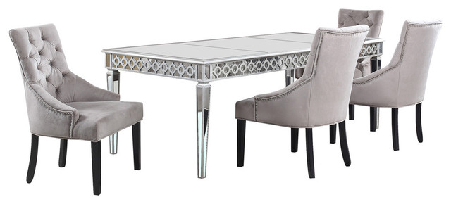 Popular Cleary Oval Dining Pedestal Tables Pertaining To Sophie Silver Mirrored Dining Room 5 Piece Set (#15 of 20)