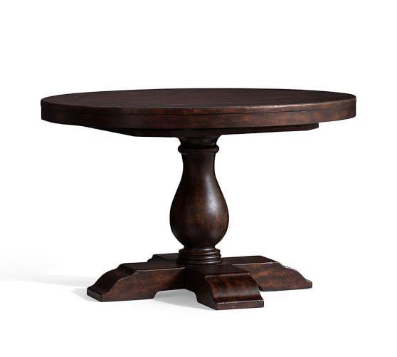 Popular Photo of Hewn Oak Lorraine Pedestal Extending Dining Tables