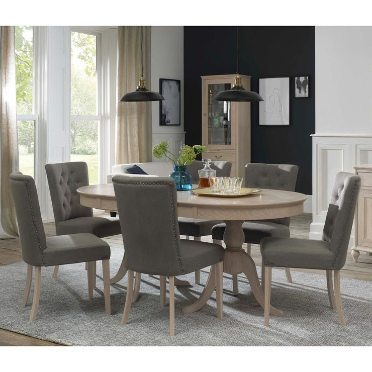 Popular Ingred Extending Dining Tables With Regard To Bentley Designs Margaux Chalk Oak Extending Dining Table + 6 Fabric Upholstered Chairs, Seats 4 (View 4 of 20)