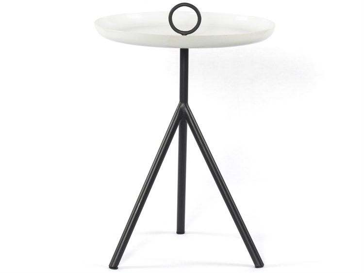 Popular Nolan Round Pedestal Dining Tables In Four Hands Nolan Charcoal / Satin White 15'' Wide Round Pedestal Table (#22 of 30)