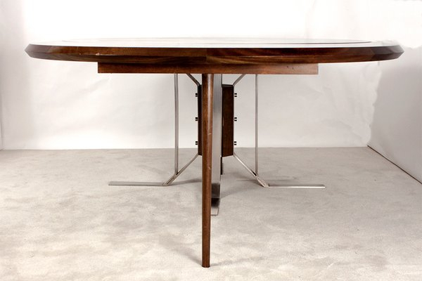 Popular Round Mid Century Walnut Dining Table With Nickel Plated Feetjordi  Vilanova For Chapman Round Marble Dining Tables (#21 of 30)