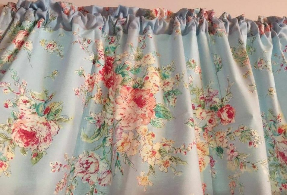 "Powder Blue Shabby Chic Curtains Panels Tiers Window Treatment 43""w X 24""l 