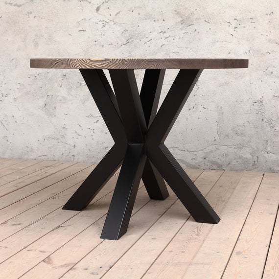Preferred Clyde Round Solid Wood Industrial Dining Table For Clyde Round Bar Tables (#15 of 20)