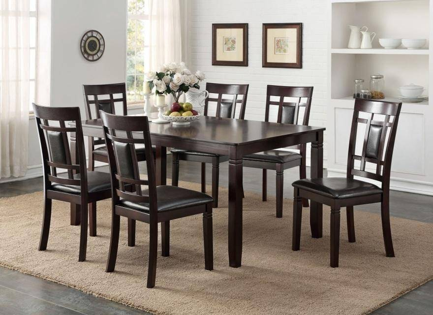 Preferred Kipling Rectangular Dining Tables Throughout Happy Homes Hh2325 Modern Rectangular Espresso Finish Dining Table Set 7 Pcs (#14 of 20)