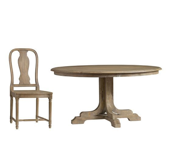 Preferred Linden Fixed Pedestal Table & Sadie Chair 5 Piece Dining Set With Regard To Linden Round Pedestal Dining Tables (View 5 of 30)
