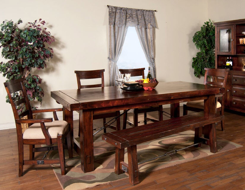 Preferred Rustic Mahogany Extending Dining Tables Regarding Vineyard Rustic Mahogany Extension Dining Table (View 4 of 30)
