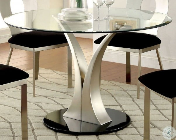 Preferred Valo Satin Plated Round Pedestal Dining Table Intended For Rae Round Pedestal Dining Tables (#18 of 30)