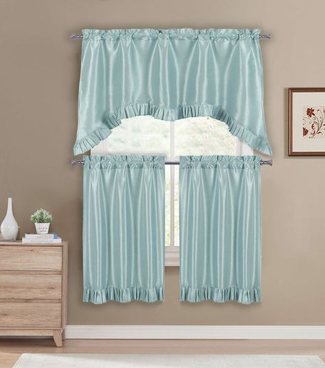 Premium Faux Silk Kitchen Window Curtain Drape Tier Intended For Faux Silk 3 Piece Kitchen Curtain Sets (View 33 of 44)
