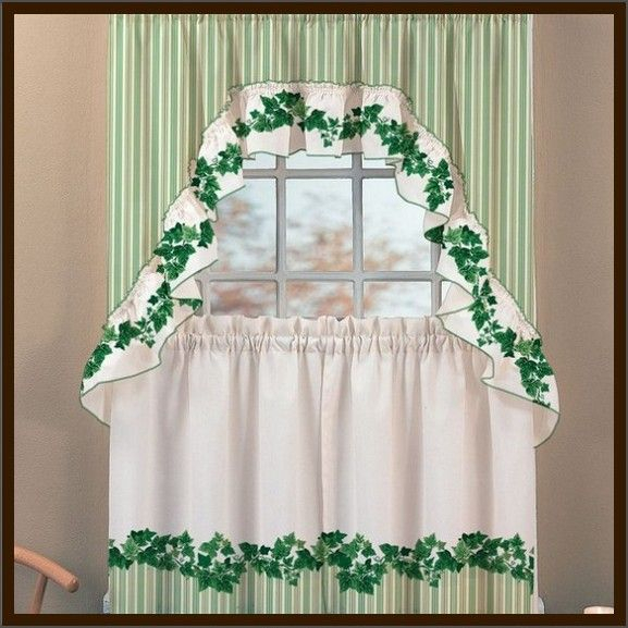 Pretty English Ivy Kitchen Curtains – Design Interior : Home With Cottage Ivy Curtain Tiers (#44 of 49)