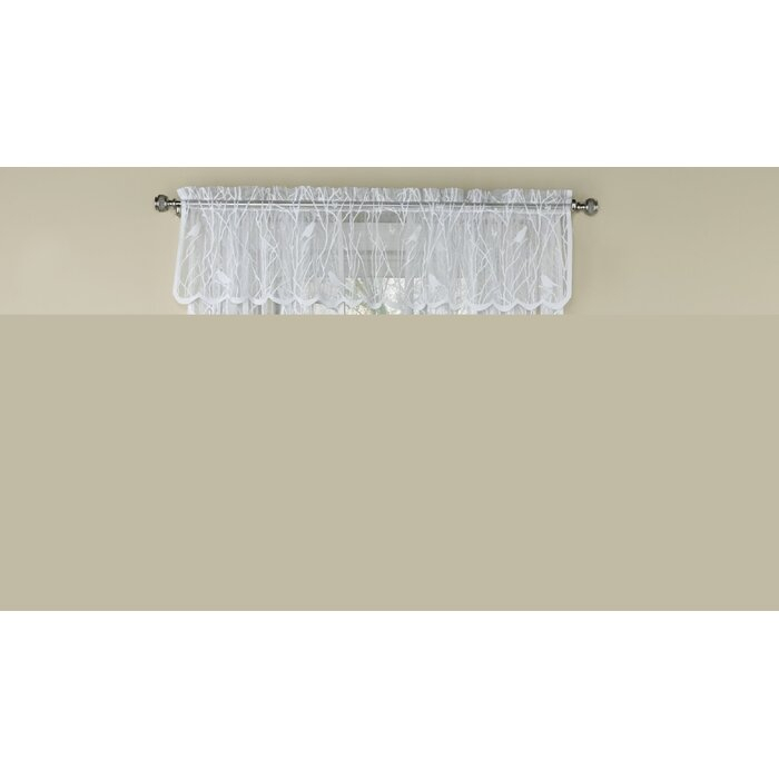 """Prevatte Bird Song Sheer Lace Tailored 56"""" Window Valance In White Knit Lace Bird Motif Window Curtain Tiers (View 35 of 50)"""