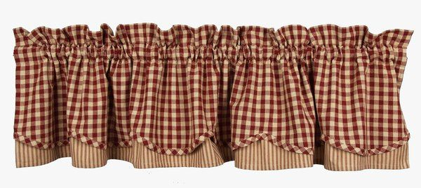 Primitive Barn Red Check And Ticking Layered Homespun Inside Red Primitive Kitchen Curtains (View 11 of 30)