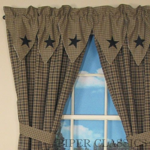 Primitive Decor Black Star Curtains | Country Drapes And Intended For Classic Black And White Curtain Tiers (View 35 of 50)