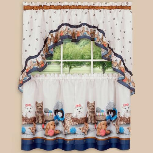 Printed Kitchen Curtain Tier And Swag Se Throughout Cottage Ivy Curtain Tiers (#45 of 49)