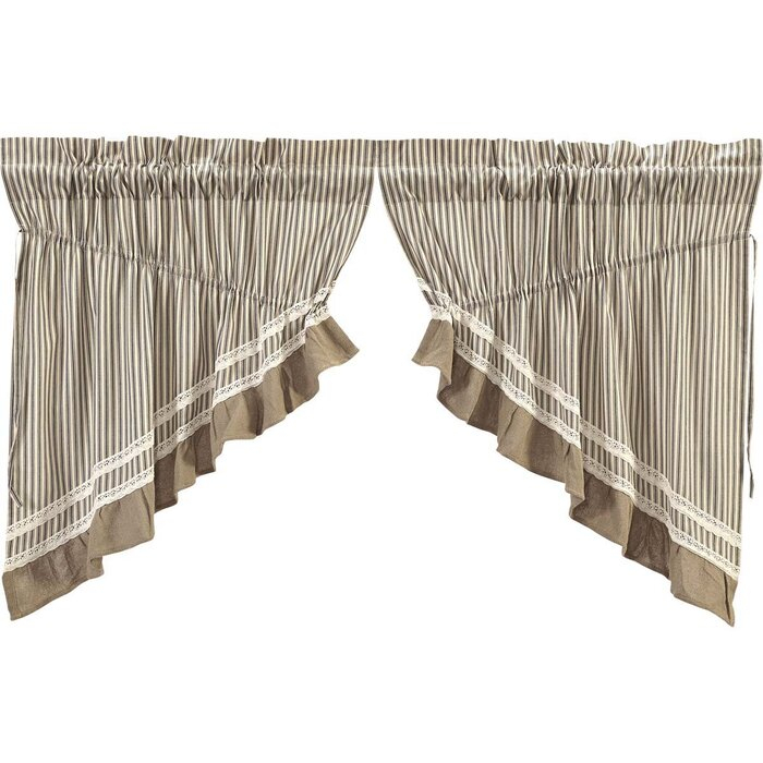 Printers Row Stripe Lined Swag Cotton Kitchen Curtain Throughout Rod Pocket Cotton Striped Lace Cotton Burlap Kitchen Curtains (View 8 of 30)