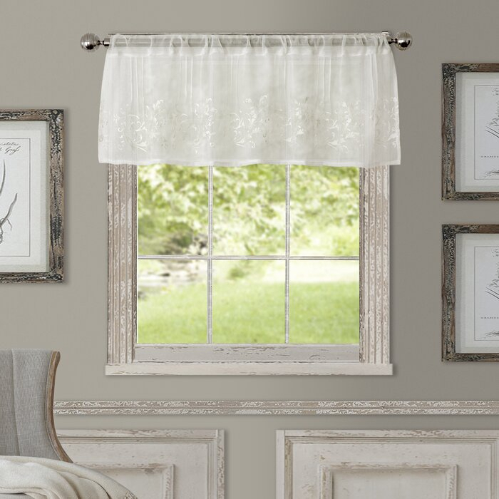 """Purkey 60"""" Window Valance With White Tone On Tone Raised Microcheck Semisheer Window Curtain Pieces (View 8 of 46)"""