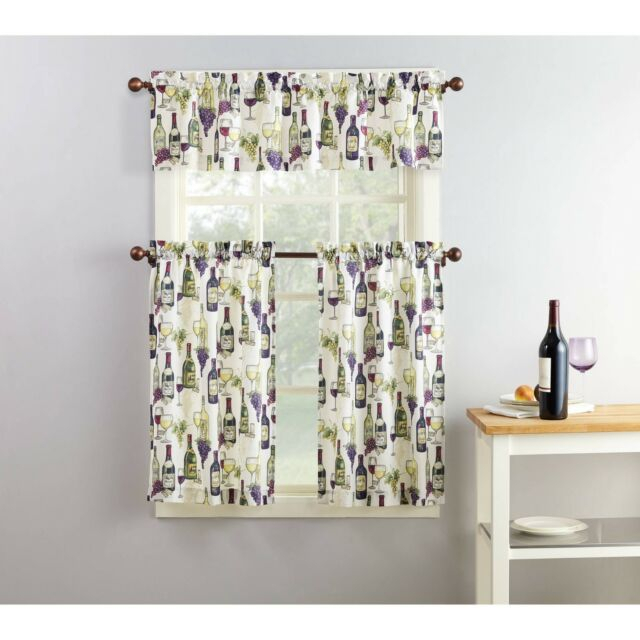 Purple Green Beige Wine Grapes Cafe Kitchen Curtains Set Tiers Valance  Window Inside Chateau Wines Cottage Kitchen Curtain Tier And Valance Sets (View 22 of 30)