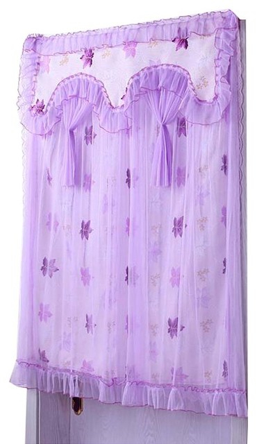 Purple Maple Leaves Pattern Lace 90X120 Cm Door Curtain Intended For Lemon Drop Tier And Valance Window Curtain Sets (View 30 of 30)