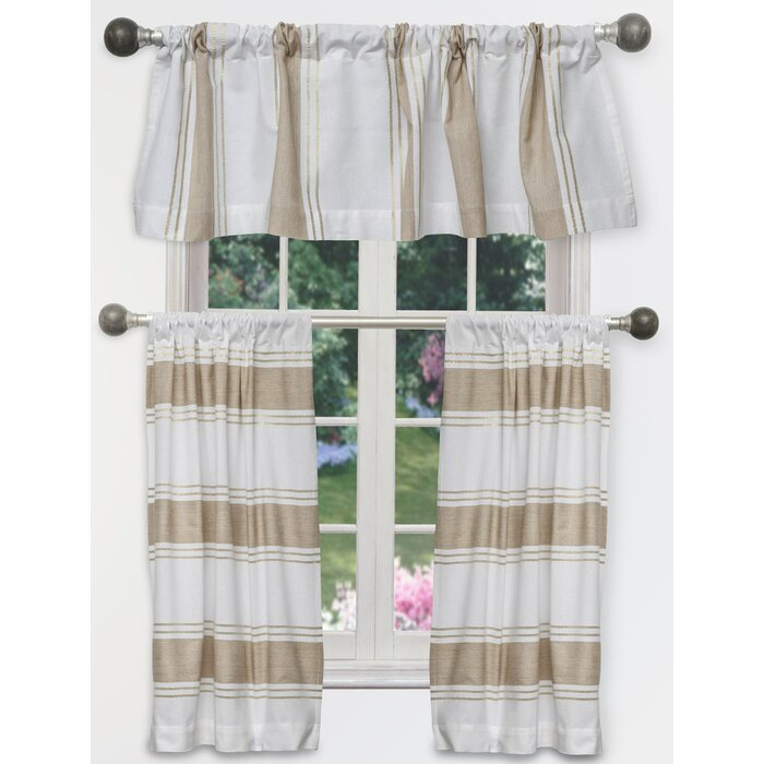 Inspiration about Raci Tier 3 Piece Curtain Set With Traditional Two Piece Tailored Tier And Valance Window Curtains (#47 of 50)