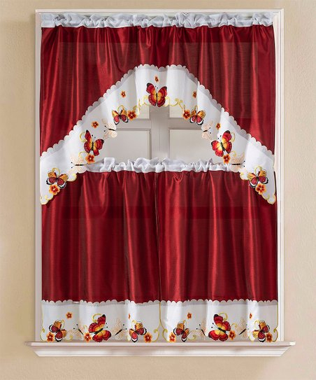 Inspiration about Ramallah Trading Company, Inc. Burgundy & White Butterfly Kitchen Window  Curtain Set Pertaining To Kitchen Burgundy/white Curtain Sets (#3 of 50)