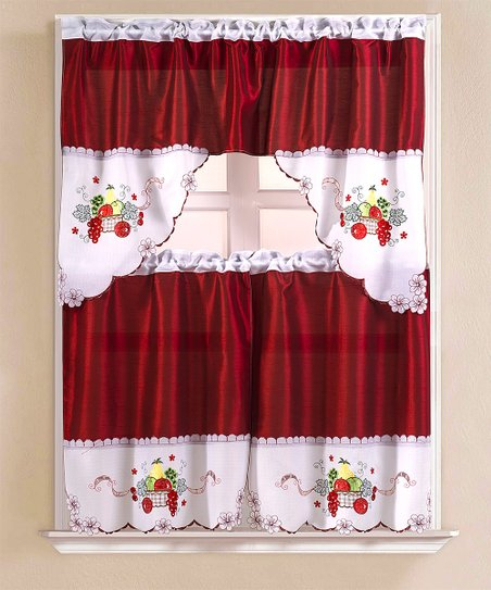 Inspiration about Ramallah Trading Company, Inc. Burgundy & White Fruit Basket Kitchen Window Curtain Set For Kitchen Burgundy/white Curtain Sets (#4 of 50)