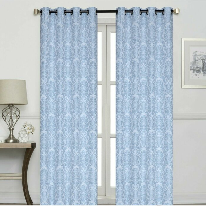 Ramsay Raised Damask Jacquard Geometric Room Darkening Grommet Curtain  Panels With Regard To Pastel Damask Printed Room Darkening Kitchen Tiers (#34 of 50)