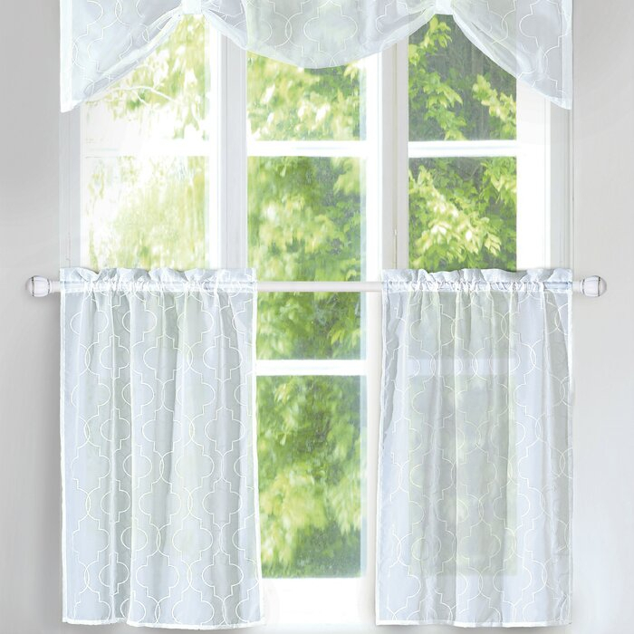 "Rana 3 Piece 56"" Kitchen Curtains Within Light Filtering Kitchen Tiers (View 47 of 50)"