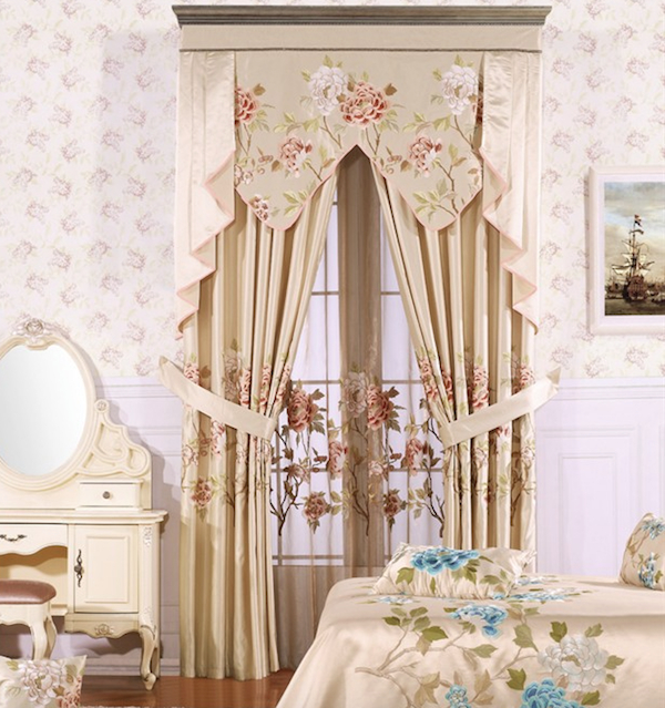 Ready Made Curtain,faux Silk Taffeta Curtain,embroidered Curtain – Buy Faux  Silk Taffeta Curtain,european Chenille Curtains,ready Made Curtain Product Inside Floral Embroidered Faux Silk Kitchen Tiers (View 42 of 50)